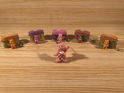 Vintage Kids Care Bears Miniature Mini Figures Keyring Tin Box Joblot Bundle