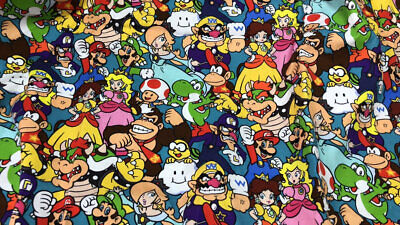 Super Mario Brothers Fabric 100% Cotton Nintendo Game 1/2 Yard 18 x 58'' Limited