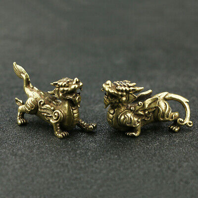 A Pair China Hand-carved Brass Attract wealth Pi Xiu Statue Home Decoration