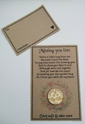 Pocket Hug Token Missing You Family & Friends Isolation Card *SEND DIRECT FREE*