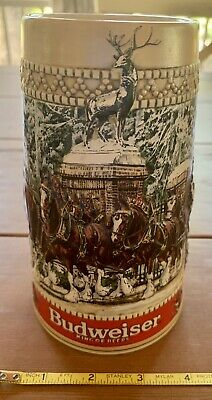 1987 C Series Anheuser Busch Budweiser Beer Clydesdale Holiday Stein Mug Cup