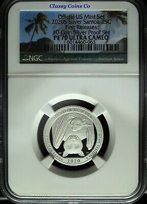 2020 S NGC Proof 70 UCAM Silver American Samoa ATB Quarter ☆☆ First Release