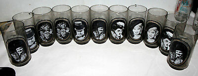 10x 1979 ARBY's ACTORS COLLECTOR GLASS MAE WEST CHARLIE CHAPLIN LITTLE RASCALS