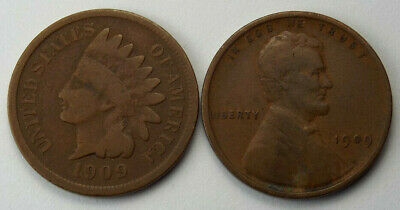 1909 Indian Head & 1909 VDB Lincoln Wheat Cents - First & Last Year Circ. Coins