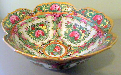 Stunning Antique Chinese Famille Rose Porcelain Bowl 6 Inch Diameter Gold Trim