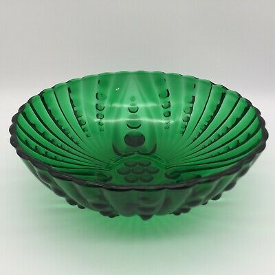 """Vintage Emerald Green Glass Hobnail Style 3-Footed Bowl Candy Dish Salad 8 1/2""""W"""