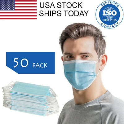50 PCS Face Mask 3-Ply Earloop Surgical Dental Medical Disposable