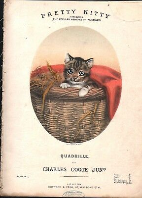 Pretty Kitty 1870 LOUISA CORBEAUX Cat in a Basket Lithograph CHARLES COOTE !