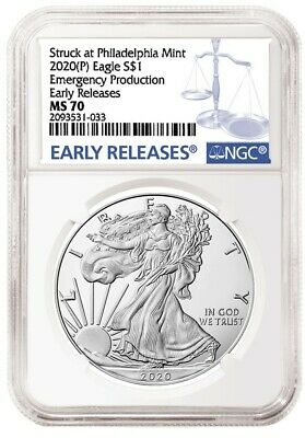 2020 (P) $1 American Silver Eagle NGC MS70 ER Emergency Production Blue Label