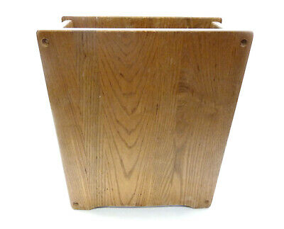 Vtg Mid Century Modern Solid Oak Wood Trash Can Bin Wastepaper Basket Rectangle