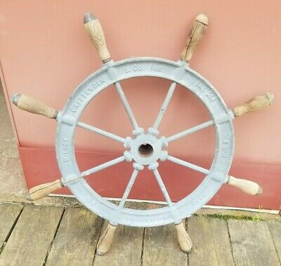 "Wilcox Crittenden 30"" Ships Wheel Middletown Conn Nautical 31 Pounds"