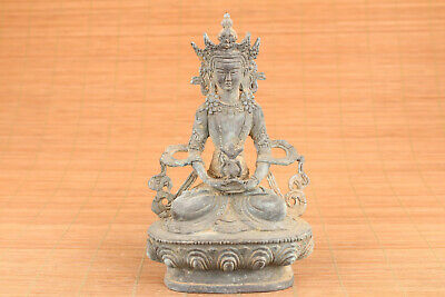 Big rare Chinese old bronze hand casting buddha statue figure table decoration