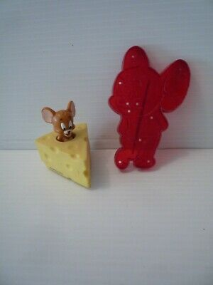 Vintage 1956 Jerry The Mouse Red Cookie Cutter & Jerry in Piece of Cheese Toy