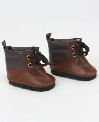 """Brown Hiking Boots fit 18"""" American Girl Size Doll - Boy Shoes"""