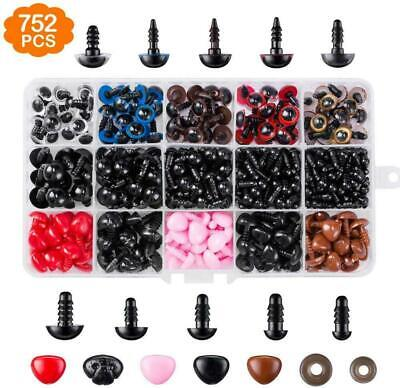 752PCS Plastic Safety Eyes and Nose with Washers for Doll Bear Making Screw