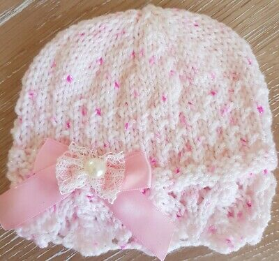 HAND KNITTED NEWBORN BABY GIRLS SUPERSOFT SHIMMER HAT IN WHITE OR PINK FREEPOST