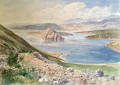 Original Late 19th / Early 20th Century Antique Watercolour of Lemnos, Greece