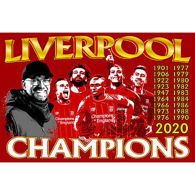 Liverpool Champions of England KLOPP FLAG 2020 Times League 19 Stars Mo Salah