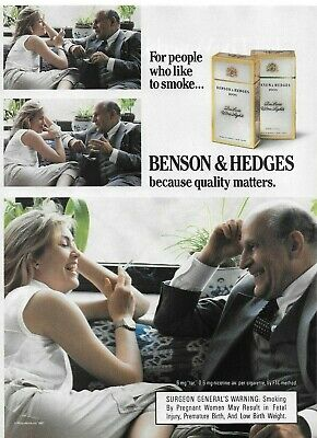1987 Benson Hedges Cigarette Old Man Young Girl Not His Niece Original Print Ad
