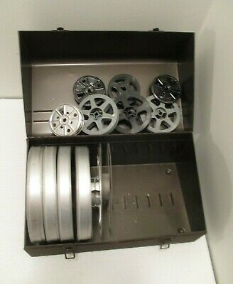 Lot of 13 16mm Reels and 16mm Metal Storage Case