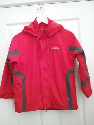 Mountain Warehouse Girls Red Showerproof Hooded Jacket Age 9/10 Years Excellent