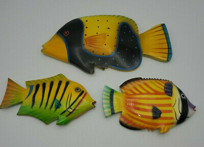 2 Hand Painted Carved Yellow Tropical Fish Wood Wall Hang Marine Ocean Water