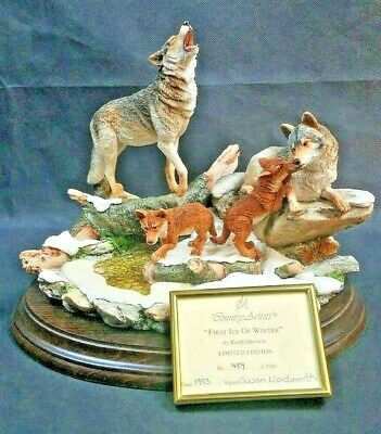 "Wolf Family ""FIRST ICE OF WINTER"" Country Artist England Made Figurine 489/3500"