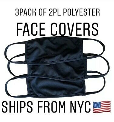 Non-Medical Polyester Cotton Face Mask 3 Pack Black