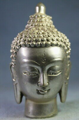 Decoration Rare Precious Miao Silver Carving Curly Hair Buddha Exquisite Statue
