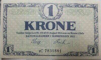 Denmark, 1 Krone, 1921, KM #12g, 2C UNCIRCULATED!!! ONLY ONE ON EBAY AS UNC.