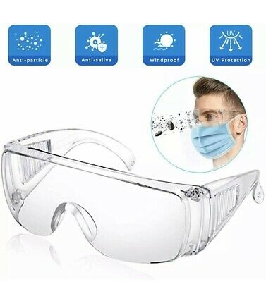 Safety Glasses Spectacles Over Specs Eye Protection anti fog Anti flu & dust