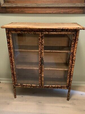 Antique English Victorian Bamboo Cabinet Curio Chinoiserie with Wicker Top