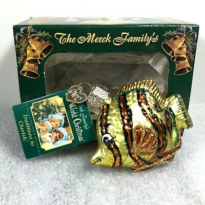 Vintage Glass Angel Fish Ocean Sealife Christmas Ornament OWC NEW Hand Painted