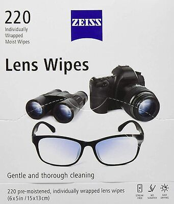 ZEISS Lens Cleaning Wipes 220ct Eye Glasses Camera Phone Smudges Streaks Dirt