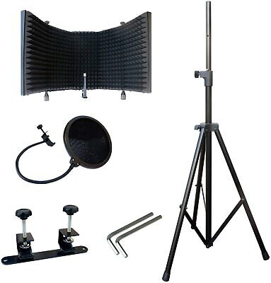 """Recording Studio Microphone Isolation Shield with Tripod Stand - 4' to 6' 6"""""""
