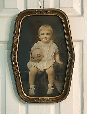 Antique Ornate Wood Picture Frame With Convex Bubble Glass And Vintage Photo