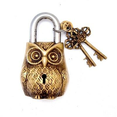 Vintage Décor Locks Symbolic Owl Figure Crafted Antique Padlock Lock Key BL 014