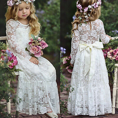 Girl Kid Princess Floral Lace Dress Wedding Party Bridesmaid Prom Frilly Dresses