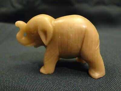 Little Tan Soapstone Carved Elephant Figurine - Trunk Up - Lucky