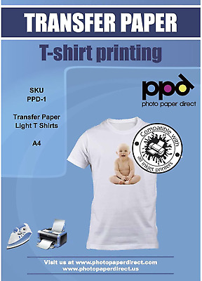PPD Inkjet T Shirt Transfer Paper A4 for Light T Shirt x 20 Sheets PPD-1-20