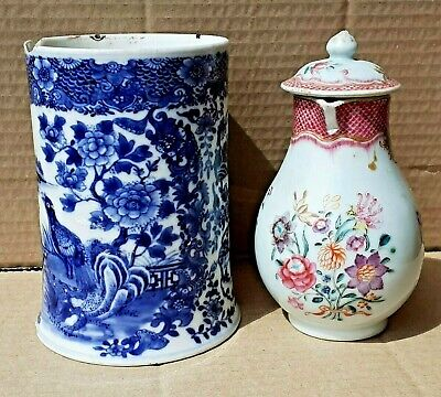 Antique Chinese Export 18 Th C Blue And White Tankard & Famille Rose Jug