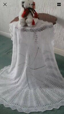 """Gorgeous New 2 Ply Hand Knitted Circular Baby Shawl 52""""Dia.super Soft.pure White"""