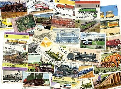50 Different Trains Railway Engines Locomotives on Stamps Thematics
