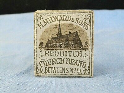 Antique H Milward & Sons Redditch Church Brand Penny Packet Sewing Needle Case