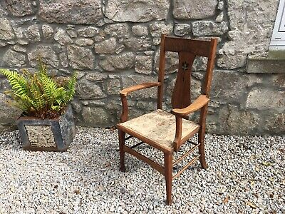 Beautiful Antique Arts And Crafts Oak Hall Chair