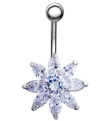 Sparkly Flower Gem Belly Bar Navel Piercing Jewelry Surgical Steel with CZ Gems