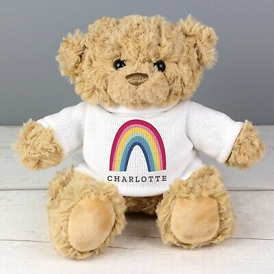 Personalised Rainbow Teddy Bear NHS Any Name Miss You Gift Birthday Baby Kids