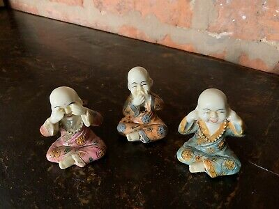 Very Unusual Set Of Three Wise Monks Buddha Figures Oriental