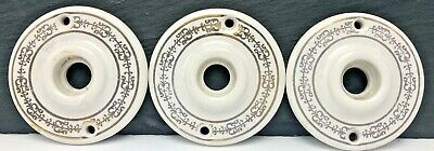 Vintage Door Knob Backplate Rosettes Escutcheons Porcelain Rings Scroll Motif