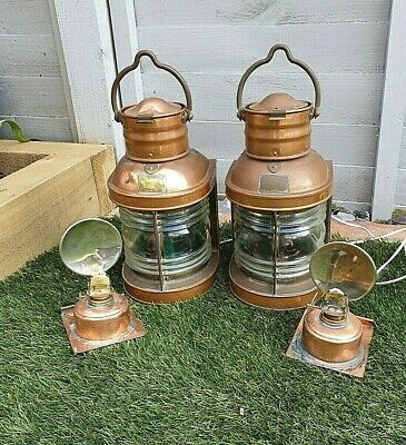 A Pair of ACDL Antique Vintage Ships Port Starboard Oil Lamps Copper.